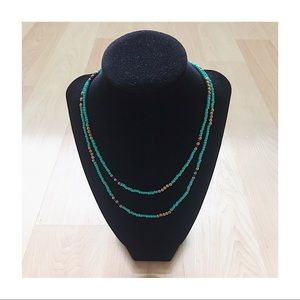 Turquoise & Gold Long Beaded Necklace